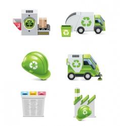 trash recycling icon set vector image vector image