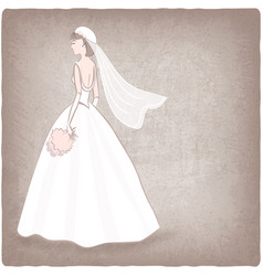bride in wedding dress old background vector image vector image