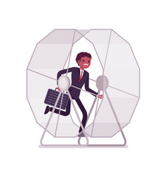businessman in a running wheel vector image