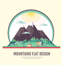 Flat style design of countryside mountains vector