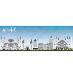 Istanbul Skyline with Gray Landmarks vector image
