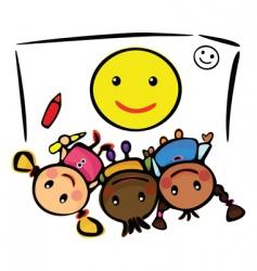 kids draw smile vector image