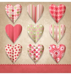 Scrap template of vintage design with hearts vector image