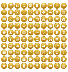 100 security icons set gold vector