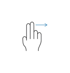 2 finger swipe right line icon hand gestures vector image