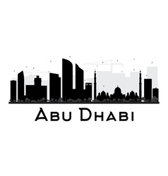 Abu Dhabi City skyline black and white silhouette vector image vector image