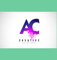 Ac a c purple letter logo design with liquid vector