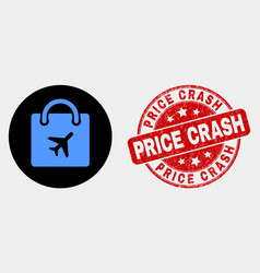 airport shopping bag icon and grunge price vector image
