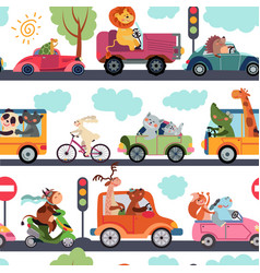 animal transport pattern transportation funny vector image