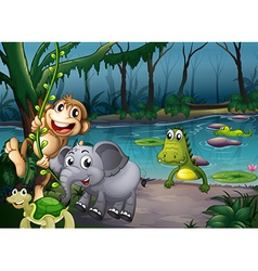 Animals playing at forest near pond vector