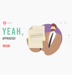 Approval landing page template happy male vector