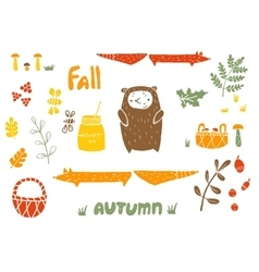 Autumn set in linocut style vector