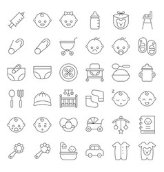 Baby shower thin line icon set with baby avatar vector