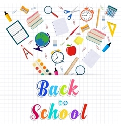 Back to school background with supplies tools vector image