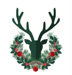background with deer antlers vector image