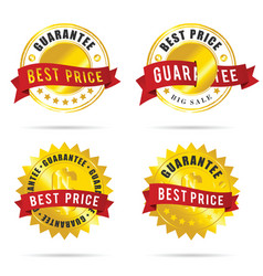 Best price label set in colorful vector