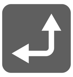 Bifurcation Arrow Left Up Flat Squared Icon vector