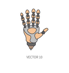 bionic robot arm prosthesis color line icon vector image
