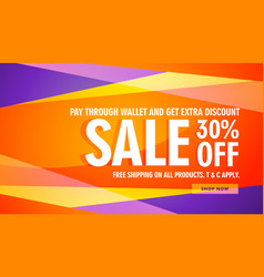 Bright color sale discount banner template vector