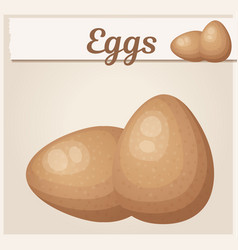 brown eggs icon fresh chicken eggs cartoon vector image