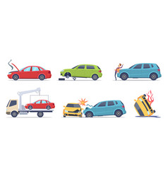 Car accident damaged transport on road repair vector