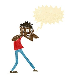 cartoon man panicking with speech bubble vector image