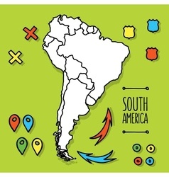 Cartoon style hand drawn travel map of South vector