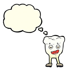Cartoon tooth looking smug with thought bubble vector