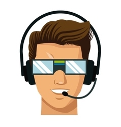 character man vr headset reality glasses vector image