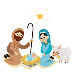 Christmas nativity scene in holy family flat vector