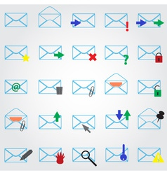 computer mail simple outline blue icons eps10 vector image
