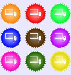 Computer widescreen monitor mouse sign icon A set vector