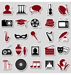 Culture and art theme simple stickers icons set vector