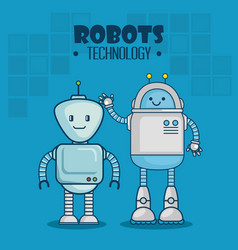 cute cartoon robots technology vector image