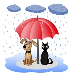 Dog and cat under umbrella vector