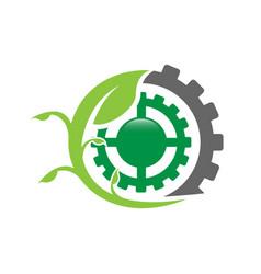 eco factory logo leaf with cog gear ecology design vector image