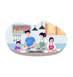 family cooking together vector image