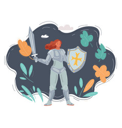 Female knight on dark background woman in armor vector