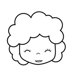 Figure man with close eyes and curly hair vector