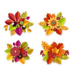 Floral autumn decoration with 3d paper cut flowers vector