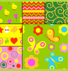 flowers easter foliage seamless pattern vector image