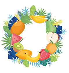 fresh tropical fruits circular frame with floral vector image