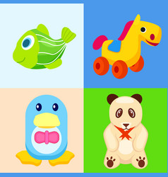 funny animal toys in colored squares vector image