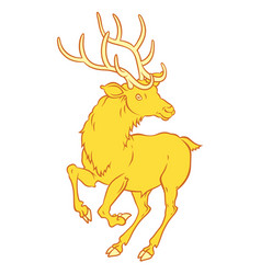 Golden fabulous deer - a symbol good luck vector
