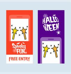 happy halloween invitation design with magic stick vector image