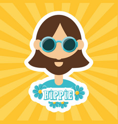 hippie man concept peace and love vector image