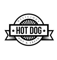 Hot Dog bread sausage mustard vintage stamp vector
