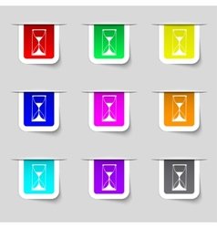 Hourglass sign icon Sand timer symbol Set of vector image
