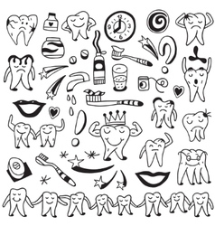 Hygiene tooth doodles vector image