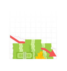 Icon pile of cash red recession graph with vector